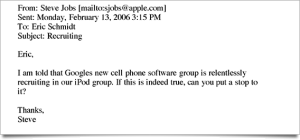 Steve Jobs Email to Google's Eric Schmidt Over Poaching